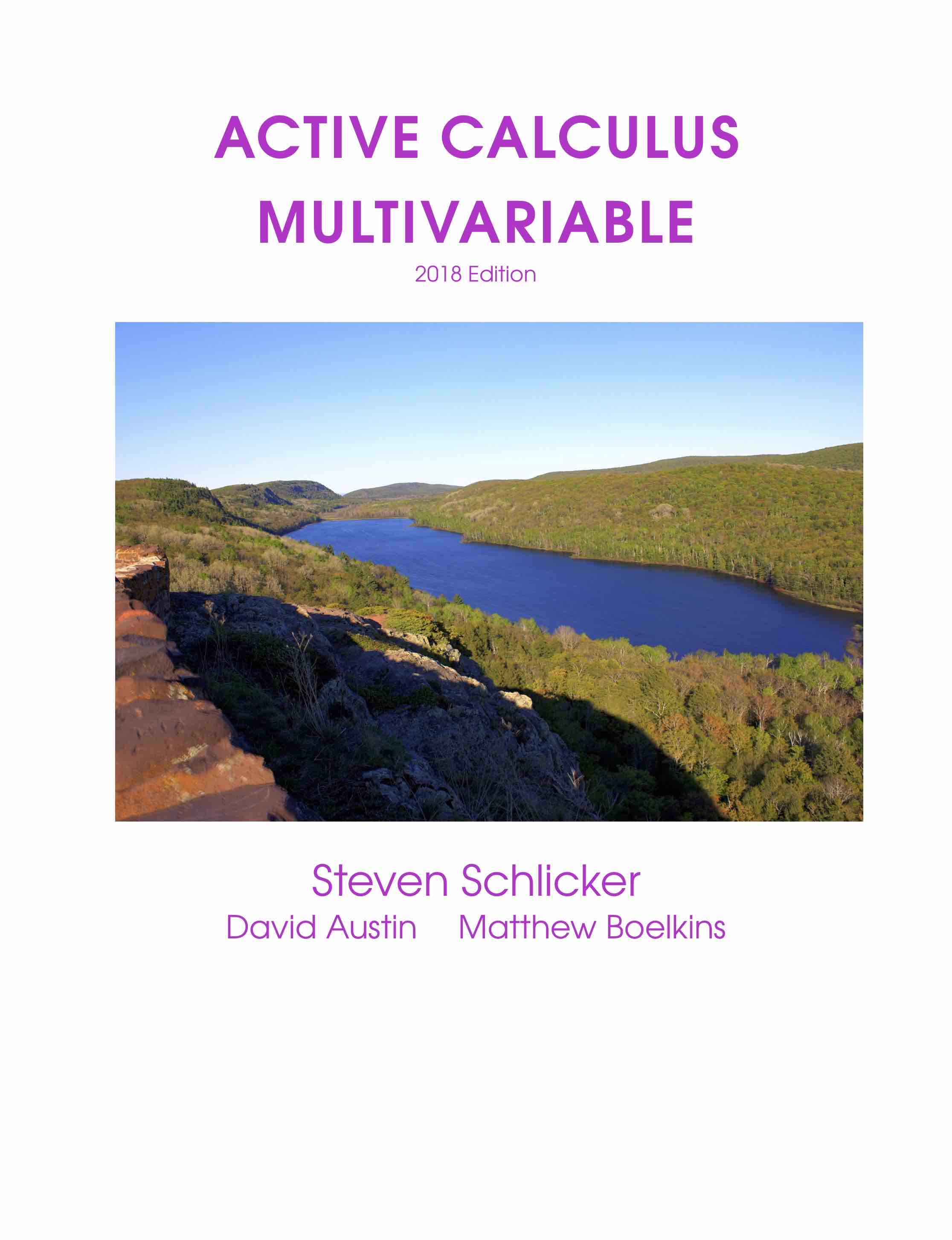Active Calculus Multivariable book cover showing lake in the mountains