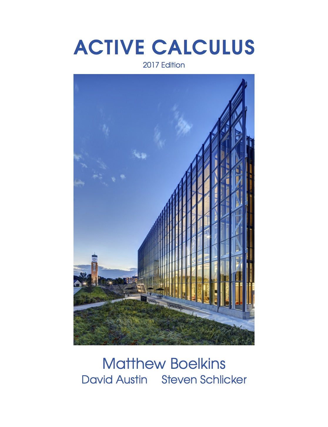 Active Calculus book cover showing a curved glass building